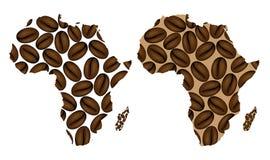 Afrika - Karte der Kaffeebohne Stockfoto