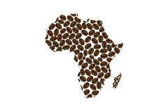 Afrika - Karte der Kaffeebohne Lizenzfreie Stockfotos