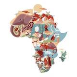 Afrika-Karte mit wilden Tieren und traditioneller Kultur lizenzfreie abbildung