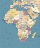 Afrika-Karte - Weinlese-Vektor-Illustration Stockfoto