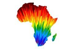 Afrika kontinent - översikten är den planlagda abstrakta färgrika modellen för regnbågen vektor illustrationer