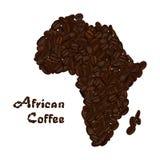 Afrika-Kontinent gemacht von den Kaffeebohnen Afrikanische Kaffeebeschriftung Lizenzfreies Stockfoto