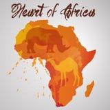 Afrika-Kontinent mit Farbspritzen Stockfoto