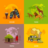 Afrika-Konzept-Ikonen eingestellt Lizenzfreie Stockfotos