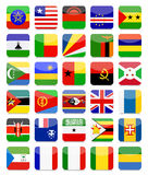Afrika markeert Vlakke Vierkante Pictogramreeks 2 Stock Fotografie