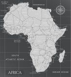 Afrika minsta översikt med mörka färger royaltyfri illustrationer