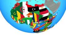 Afrika mit Flaggen auf Kugel vektor abbildung