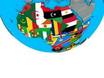 Afrika mit Flaggen auf Kugel stock abbildung