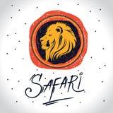 Afrika och safarilogo med lejonet royaltyfri illustrationer