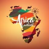 Afrika-Reisekarte, dekoratives Symbol von Afrika stock abbildung