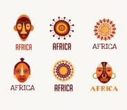 Afrika-, Safariikonen und Elementsatz lizenzfreie abbildung