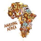 Afrika skissar begrepp stock illustrationer
