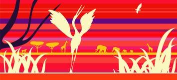 Afrika-Sonnenuntergang mit Tieren. Stockbild