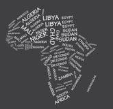 Afrika-Staatsnamen zeichnen auf stock abbildung