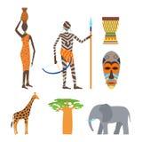 Afrika-Symbole und Reisevektorsatz Stockfoto