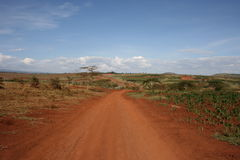 Afrika, Tanzania, rode straat Royalty-vrije Stock Fotografie