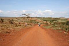 Afrika, Tanzania, Straße an den Plantagen des Kaffees Stockbilder