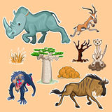 Afrika-Tier-u. -baum-Sammlung stellte 02 ein Stockfoto