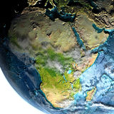 Afrika van ruimte in de ochtend royalty-vrije illustratie