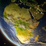 Afrika van ruimte tijdens schemer vector illustratie