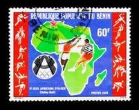 Afrika volleybollspelare, 3rd afrikanska sportar spelar serie, circa 1978 Arkivbild