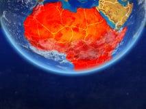Afrika vom Raum auf Erde stock abbildung