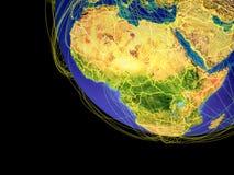 Afrika vom Raum auf Erde lizenzfreie abbildung