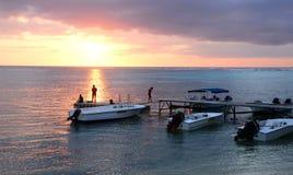 Afrika, zonsondergang in Mont Choisy in Mauritius Stock Fotografie
