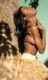 Afrikaans Amerikaans meisje in de zomer Stock Foto's