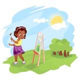 Afrikaans Amerikaans meisje die in openlucht schilderen Stock Afbeeldingen