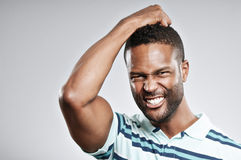 Afrikaans Amerikaans Mens Teleurgesteld Portret royalty-vrije stock fotografie