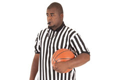 Afrikaans Amerikaans model in eenvormige basketbalscheidsrechter Royalty-vrije Stock Foto's