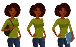 Afrikaans Amerikaans studentenmeisje Royalty-vrije Stock Foto