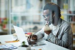 Afrikaans - Amerikaanse Ondernemer in Bureau stock fotografie