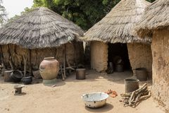 Afrikaans dorp in Ghana stock foto