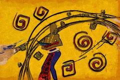 Afrikaans etnisch retro uitstekend art. Stock Afbeelding