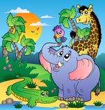 Afrikaans landschap met dieren 2 Stock Afbeeldingen