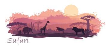 Afrikaans landschap met wilde dieren Vector illustratie royalty-vrije illustratie