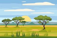 Afrikaans landschap, savanne, zonsondergang, vector, illustratie, geïsoleerde beeldverhaalstijl, royalty-vrije illustratie