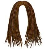 In Afrikaans lang haar dreadlocks De stijl van de manierschoonheid Stock Foto's