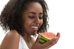 Afrikaans meisje met watermeloen Royalty-vrije Stock Afbeelding