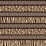 Afrikaans stijl naadloos patroon met wilde dieren s Stock Foto's