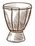 Afrikaans trommels djembe muzikaal instrument van het pictogram van Afrika stock illustratie