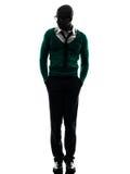 Afrikaans zwart mens het lopen silhouet Stock Foto's