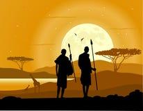 Afrikaanse Achtergrond Afrikaanse Savanne Silhouetten van jagers, bomen, dieren en maan stock illustratie