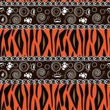 Afrikaanse af:drukken met het patroon van de tijgerhuid Stock Fotografie