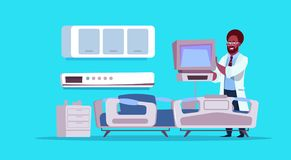 Afrikaanse Amerikaanse Arts Check Hospital Ward Equipment Medical Clinic Concept vector illustratie