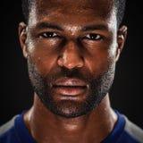 Afrikaanse Amerikaanse Atleet Portrait With Blank Expre stock foto's