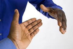 Afrikaanse Amerikaanse bedrijfshanddruk Stock Foto's