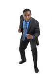 Afrikaanse Amerikaanse bedrijfsmens klaar te lopen stock afbeelding